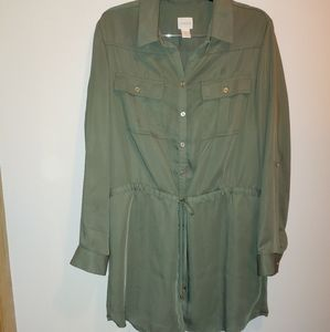 Chico's army green dress button down size 1 Medium